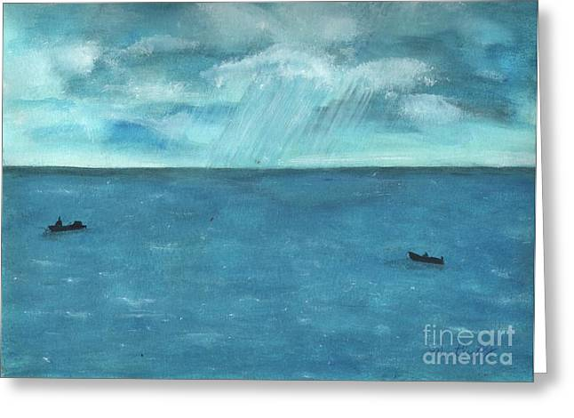 Seascape With A Boat Greeting Cards - Raining On The Caribbean  Greeting Card by Myrtle Joy