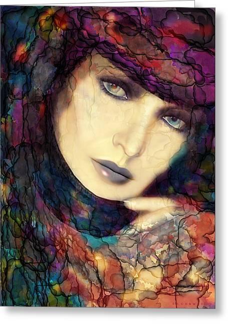 Raining Digital Greeting Cards - Raining Rainbows Greeting Card by Shanina Conway