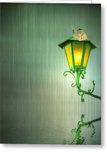 Cute Mixed Media Greeting Cards - Raining Greeting Card by Sharon Lisa Clarke