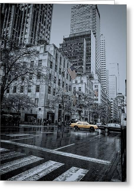 5th Ave Greeting Cards - rainy 5th Ave Greeting Card by Joachim G Pinkawa