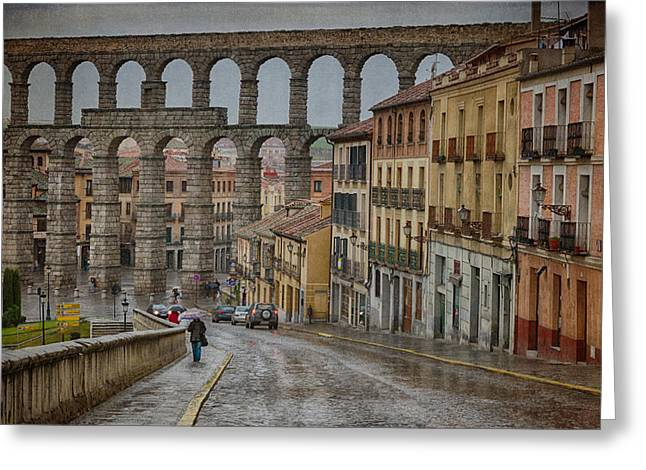Stones Greeting Cards - Rainy Afternoon in Segovia Greeting Card by Joan Carroll