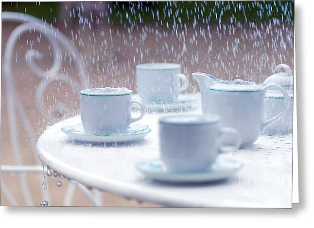 Cup Overflows Greeting Cards - Rainy and sad afternoon Greeting Card by Gregory DUBUS