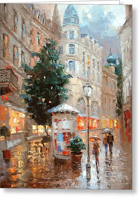 Rainy Baden Baden Greeting Card by Dmitry Spiros