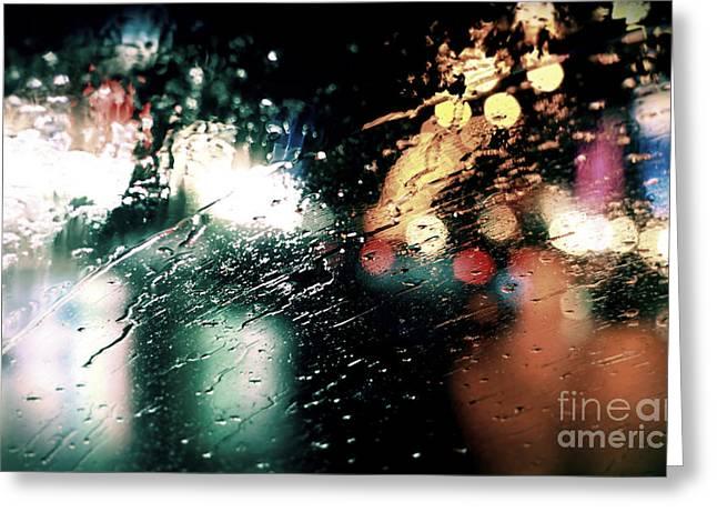 Rain Streaked Window Greeting Cards - Rainy City Lights Greeting Card by Lauren Davies