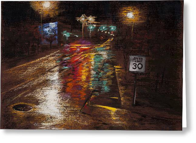 Traffic Pastels Greeting Cards - Rainy City Market Greeting Card by Jocelyn Paine