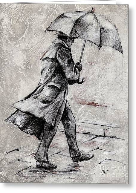 Graphics Mixed Media Greeting Cards - Rainy Day #07 Drawing Greeting Card by Emerico Imre Toth