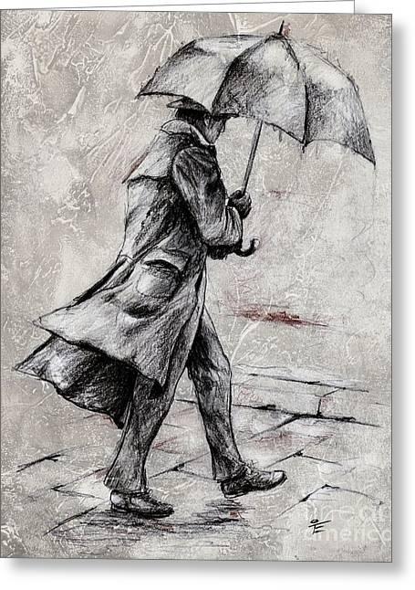 Umbrella Mixed Media Greeting Cards - Rainy Day #07 Drawing Greeting Card by Emerico Imre Toth