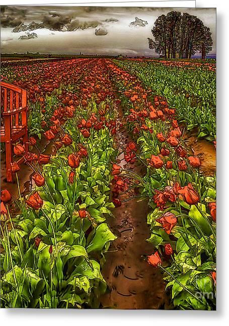 Garden Scene Digital Greeting Cards - Rainy Day-2 Greeting Card by Nancy Marie Ricketts