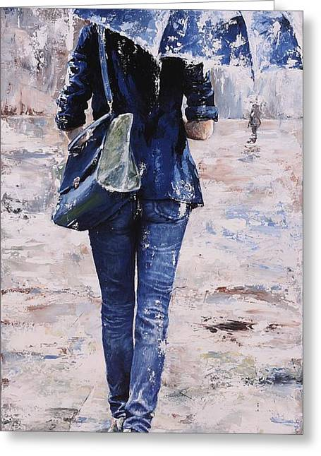 New York City Rain Greeting Cards - Rainy day #22 Greeting Card by Emerico Imre Toth