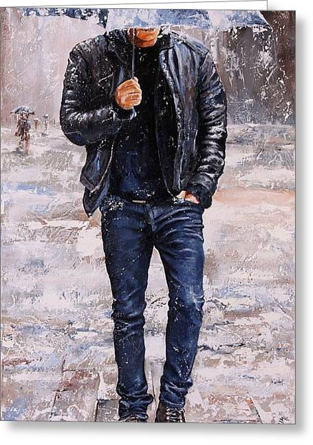 City Rain Greeting Cards - Rainy Day #23 Greeting Card by Emerico Imre Toth