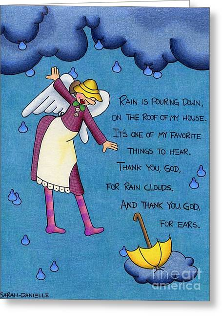 Angel Blues Greeting Cards - Rainy Day Angel Greeting Card by Sarah Batalka