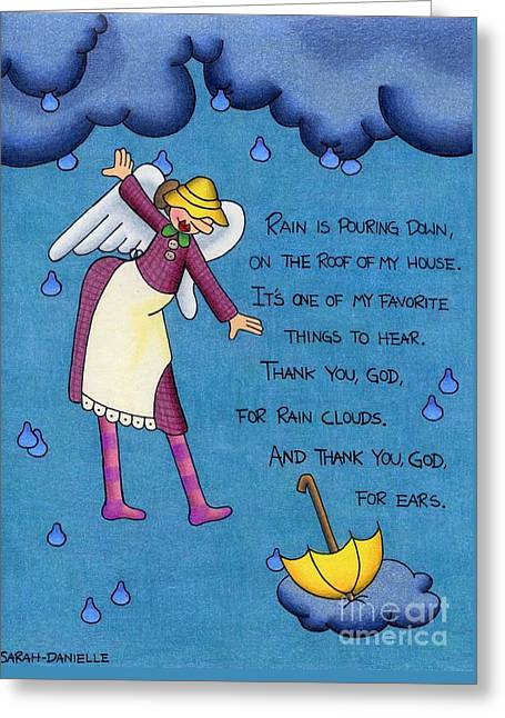 Rainy Day Angel Greeting Card by Sarah Batalka
