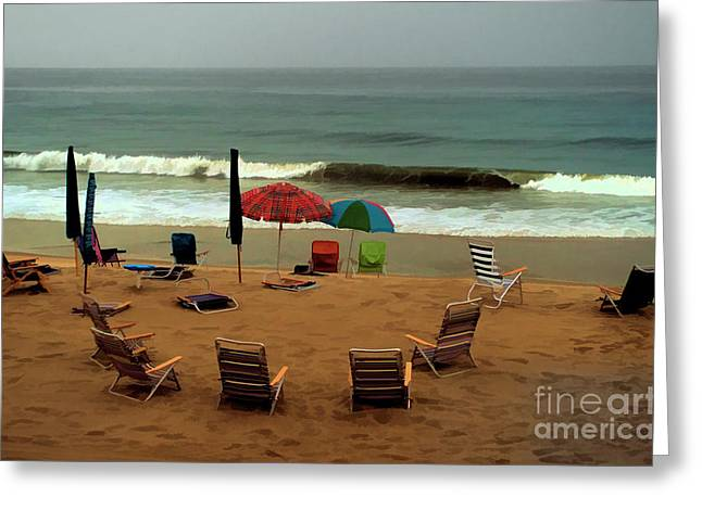 Empty Chairs Greeting Cards - Rainy Day at the Beach in Bethany Beach in Delaware Greeting Card by William Kuta