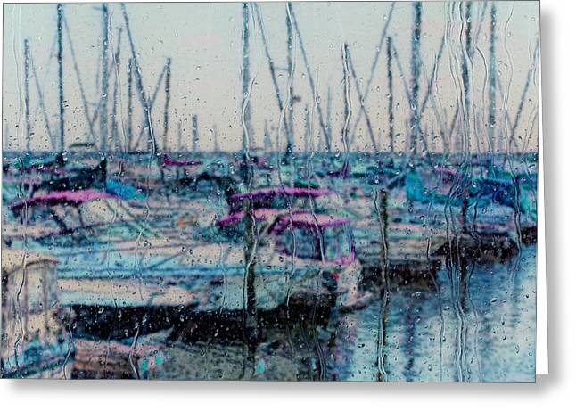 Docked Sailboats Greeting Cards - Rainy Day At The Lakefront Greeting Card by Jack Zulli