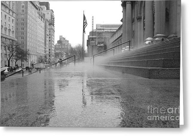 Urban Man Greeting Cards - Rainy Day at the Met - NYC Photography Greeting Card by Anahi DeCanio - ArtyZen Studios