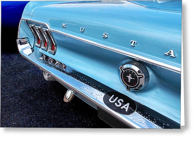 Ford Custom V8 Greeting Cards - Rainy Day Blues - 67 Mustang Greeting Card by Gill Billington