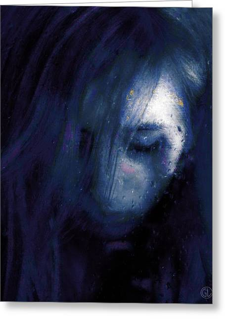 Woman Head Greeting Cards - Rainy day blues Greeting Card by Gun Legler