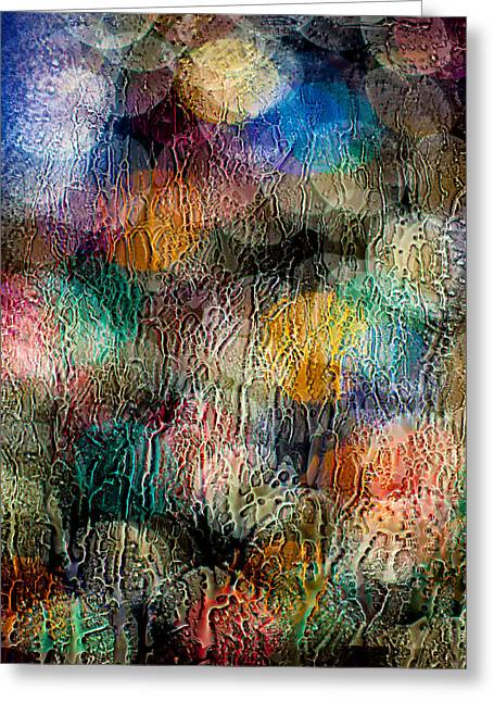 Christmas Abstract Greeting Cards - Rainy Day Christmas Greeting Card by Aaron Aldrich