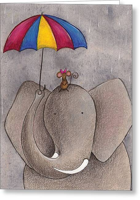 Umbrella Drawings Greeting Cards - Rainy Day Greeting Card by Christy Beckwith