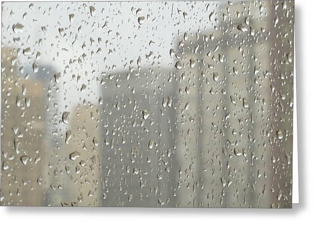 Ann Horn Greeting Cards - Rainy Day City Greeting Card by Ann Horn