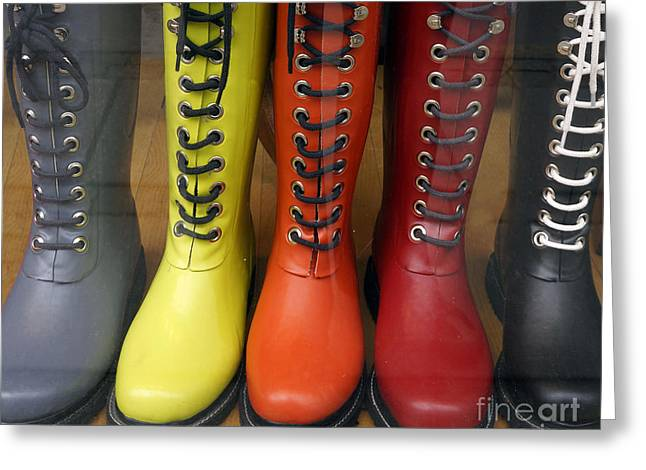 Wellingtons Greeting Cards - Rainy Day Fashion Greeting Card by Inge Riis McDonald