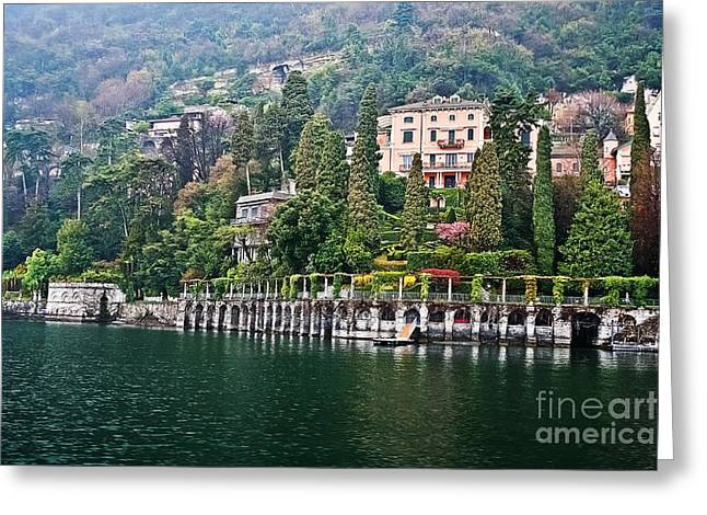 Haze Greeting Cards - Rainy Day in Como Greeting Card by Elvis Vaughn