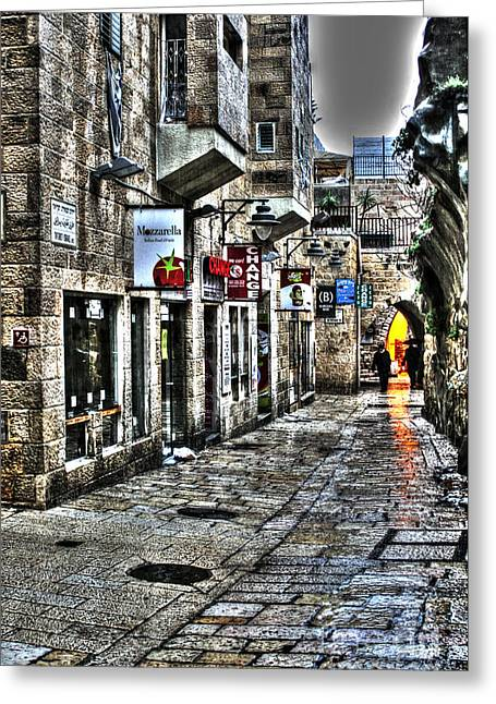 Old Western Photos Mixed Media Greeting Cards - Rainy Day in Jerusalem Greeting Card by Michael Braham