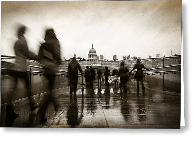 Instant Greeting Cards - Rainy Day in London With Vintage Filter Greeting Card by Susan  Schmitz