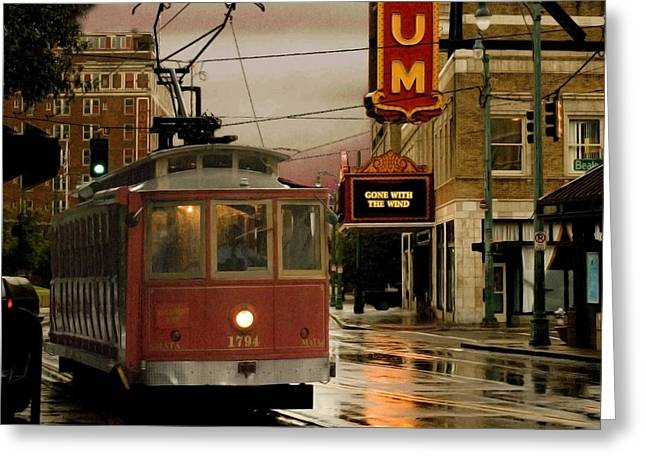 Streetcar Greeting Cards - Rainy Day in Memphis Greeting Card by Don Wolf