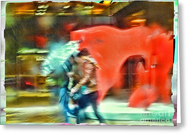 Rainy Day In New York City Greeting Card by Jeff Breiman