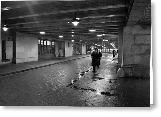 Taxi Stands Greeting Cards - Rainy day in NYC Greeting Card by Kurt Von Dietsch