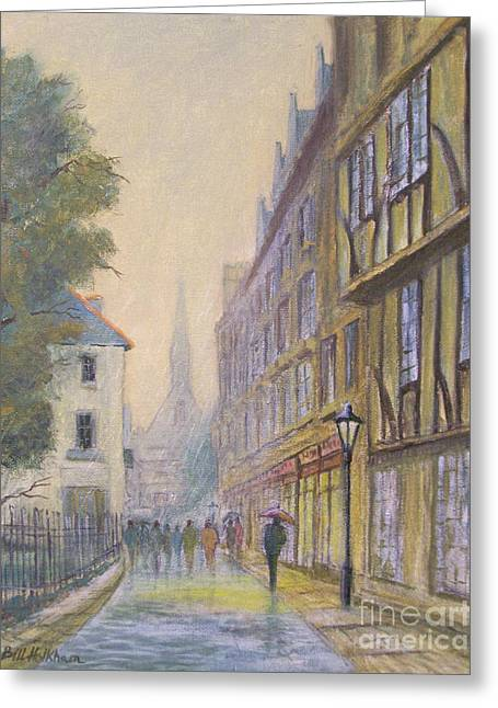 Reflecting Buildings Greeting Cards - Rainy Day In Oxford Greeting Card by Bill Holkham