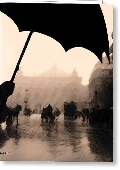 Umbrellas Pastels Greeting Cards - Rainy Day in Paris Greeting Card by George Pedro