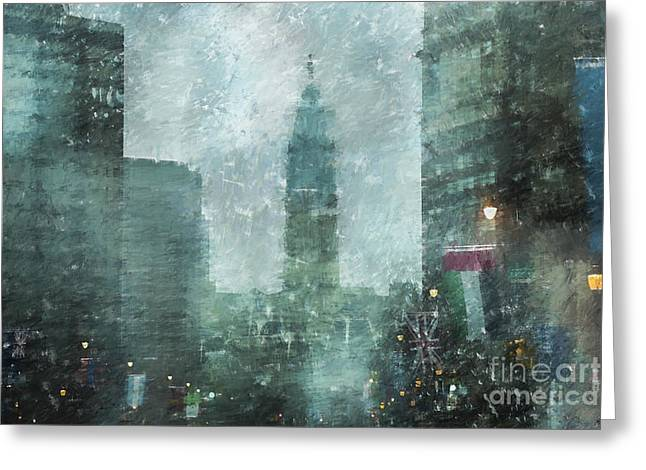 City Hall Photographs Greeting Cards - Rainy Day in Philadelphia  Greeting Card by Diane Diederich