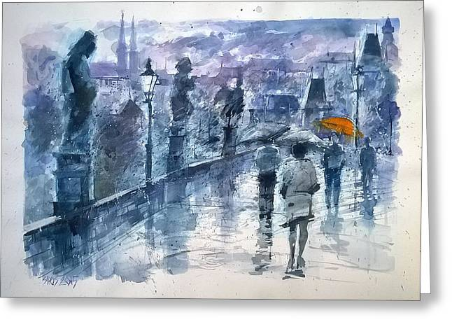 Prague Paintings Greeting Cards - Rainy day in Prague Greeting Card by Lorand Sipos
