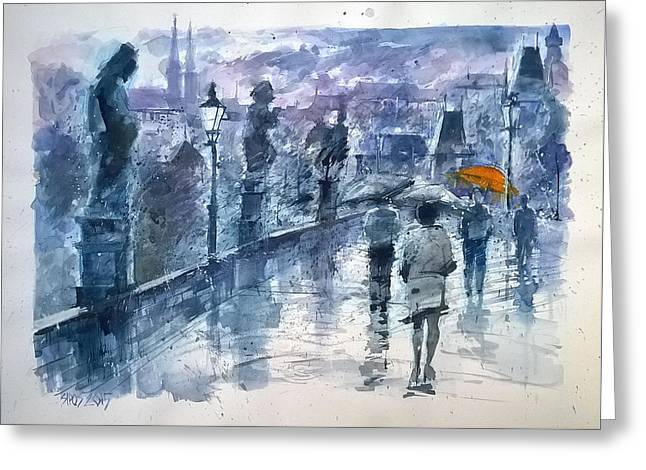 Prague Paintings Greeting Cards - Rainy day in Prague SOLD Greeting Card by Lorand Sipos