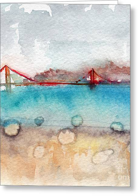 Whimsical Mixed Media Greeting Cards - Rainy Day In San Francisco  Greeting Card by Linda Woods