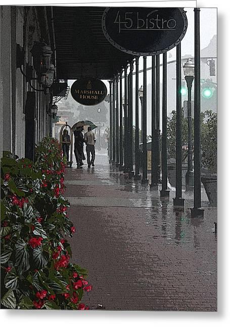 Streetlight Digital Art Greeting Cards - Rainy Day in Savannah - Marshall House Greeting Card by Suzanne Gaff