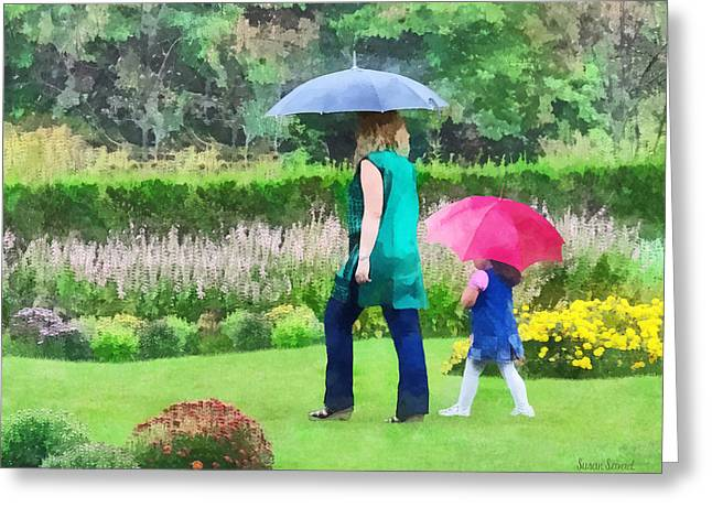 Raining Greeting Cards - Rainy Day in the Garden Greeting Card by Susan Savad