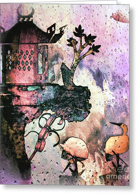 """""""japan House"""" Greeting Cards - Rainy day in the Orient Greeting Card by Michelle Frizzell-Thompson"""