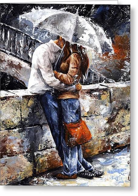 Younger Greeting Cards - Rainy day - Love in the rain Greeting Card by Emerico Imre Toth