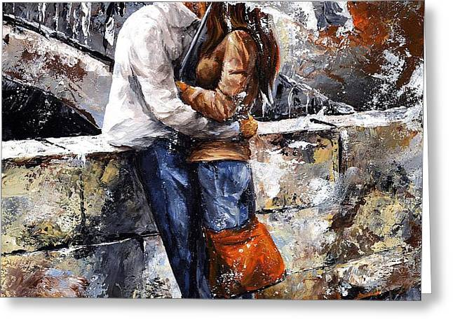 Rainy day - Love in the rain Greeting Card by Emerico Imre Toth