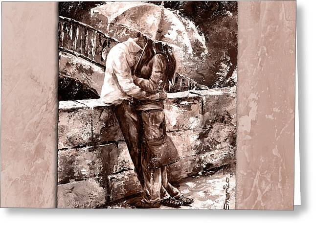 Tenderness Greeting Cards - Rainy day - Love in the rain Style MistyRose Greeting Card by Emerico Imre Toth