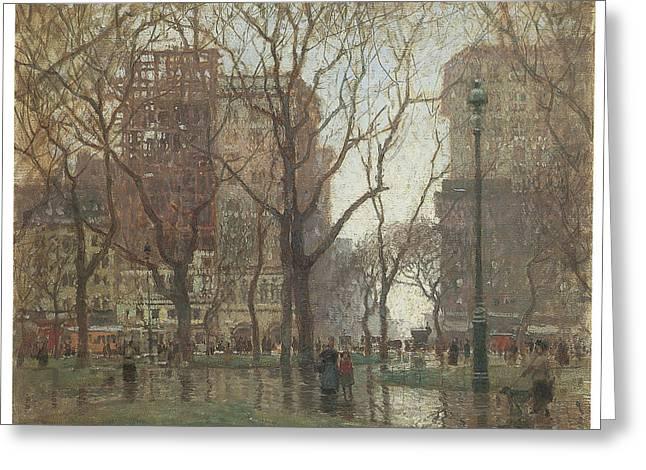 Rainy Day Madison Square New York Greeting Card by Paul Cornoyer