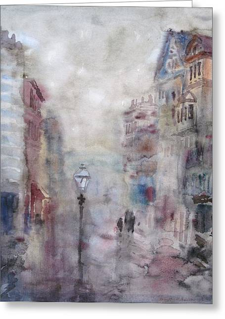 Old Street Greeting Cards - Rainy Day Greeting Card by Murat Kaboulov