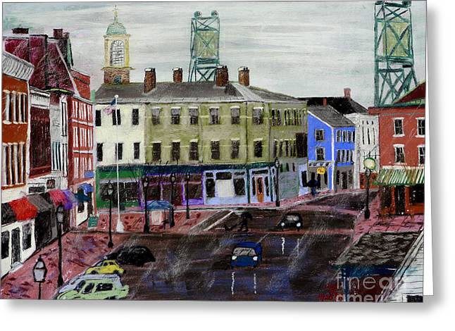 First Family Pastels Greeting Cards - Rainy Day on Market Square Greeting Card by Francois Lamothe
