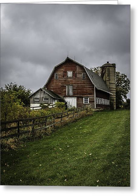 Outbuildings Greeting Cards - Rainy Day on the Farm Greeting Card by Kathleen Scanlan