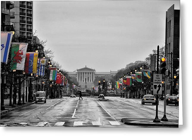 Rainy Day on the Parkway Greeting Card by Bill Cannon