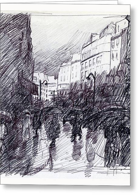 Sketchbook Greeting Cards - Rainy Day Paris Greeting Card by J Reifsnyder