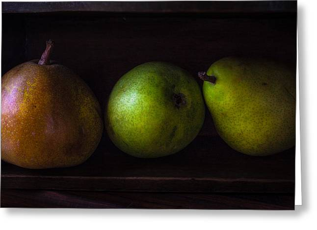 Wooden Box Greeting Cards - Rainy Day Pears Greeting Card by Constance Fein Harding